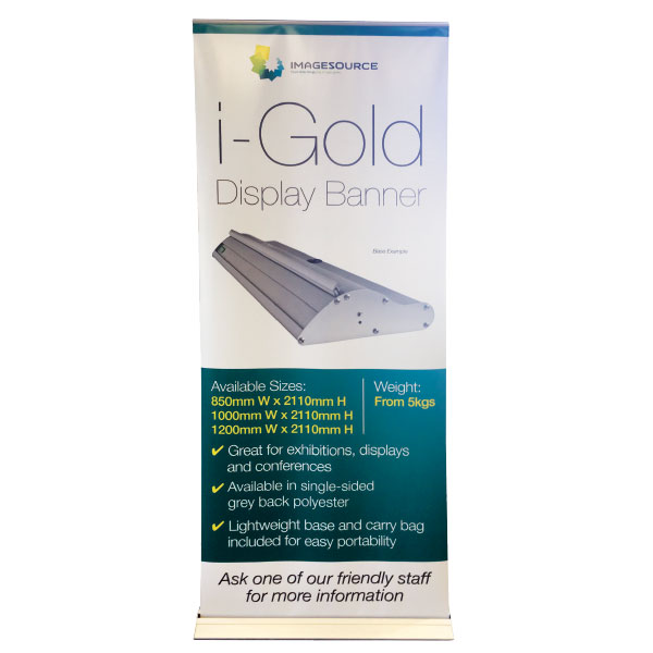 banner printing perth - iGold pull-up banner available from Imagesource