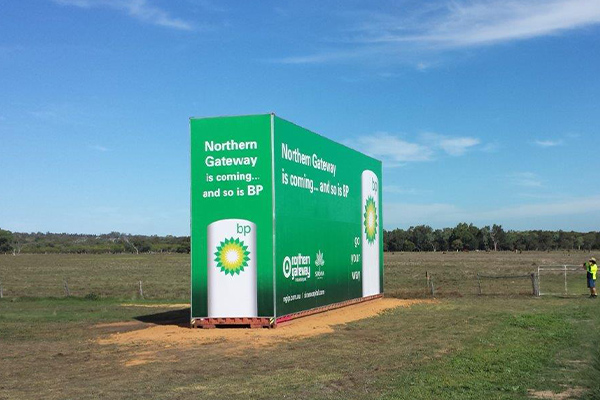 Sea container sign for BP by Imagesource