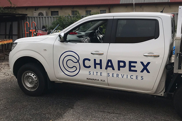 Vehicle graphic for Chapex Site Services by Vehicle graphics for Cockburn Care by Imagesource