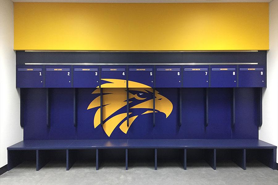 West Coast eagles changeroom wallpaper and wall graphics done by Imagesource