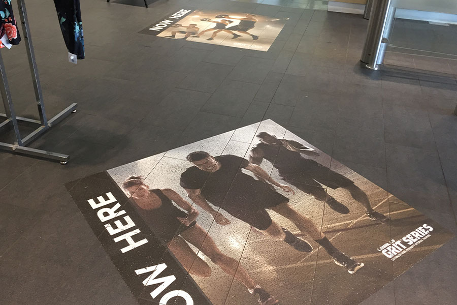Dinosaur print floor graphic for WA Museum by Imagesource