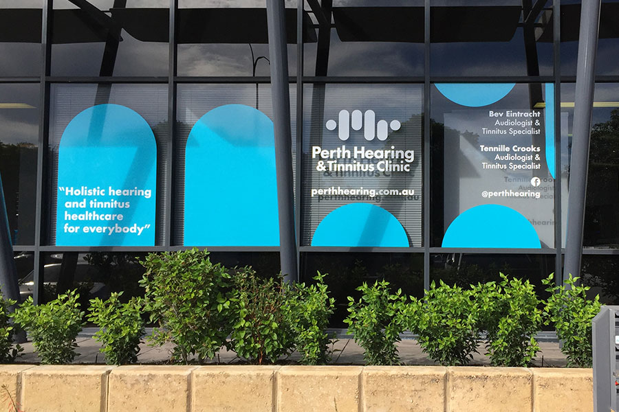 Perth Hearing & Tinnitus Clinic window graphics done by Imagesource