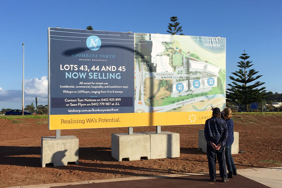 Koombana North for Landcorp real estate signage done by Imagesource