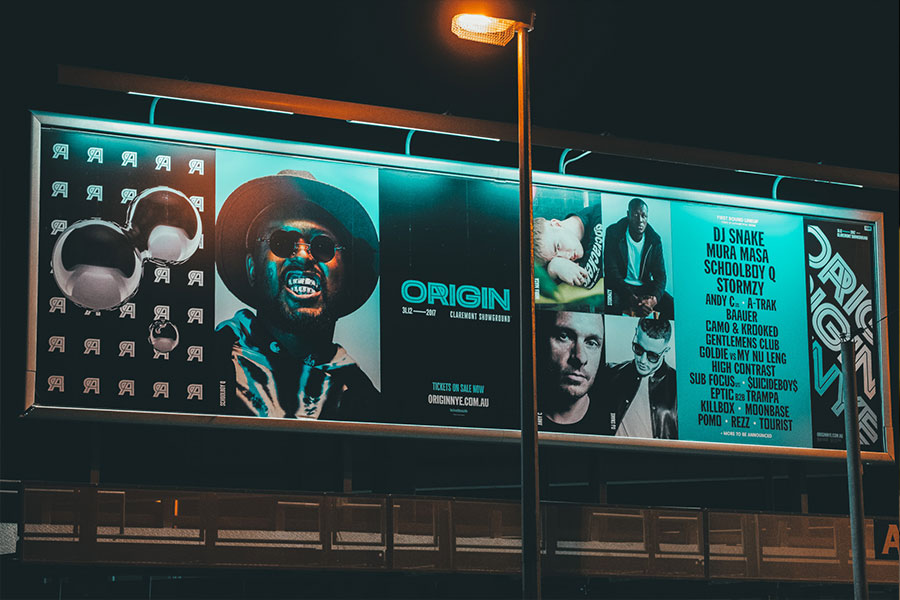 Billboard for Origin Fields NYE signage done by Imagesource