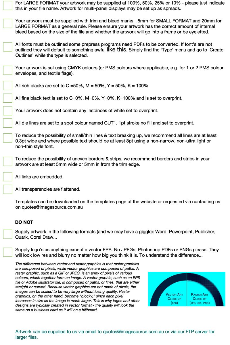 Digital printing Perth - Imagesource have produced a downloadable artwork checklist to ensure your artwork is print ready