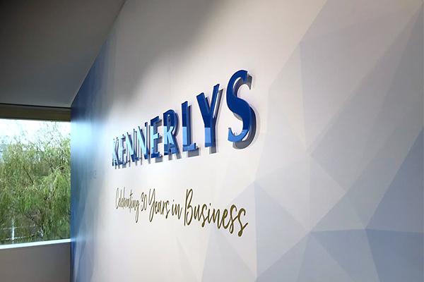 Acrylic digitally cut office signage for Kennerlys West Perth