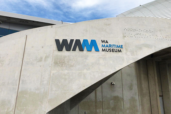 Acrylic fascia signage digitally cut for the WA Maritime Museum in Fremantle