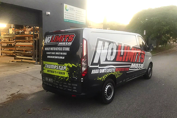vehicle wrap for No Limits Moto motorcycle store In Morley