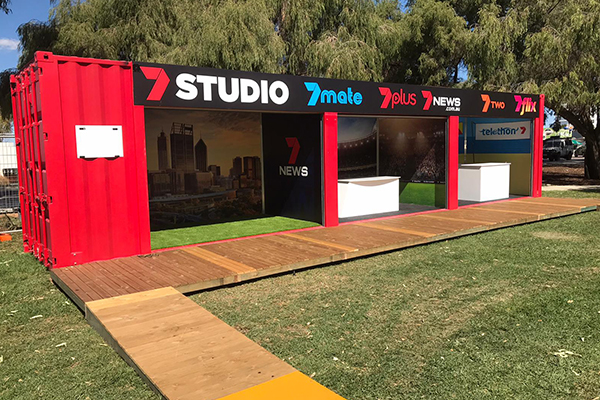 Seven West Media sea container at the Perth Royal Show