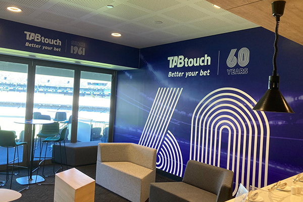 The TAB room wallpaper and table graphics at Optus Stadium (home of the West Coast Eagles and Fremantle Dockers) in Perth where the AFL / football is played