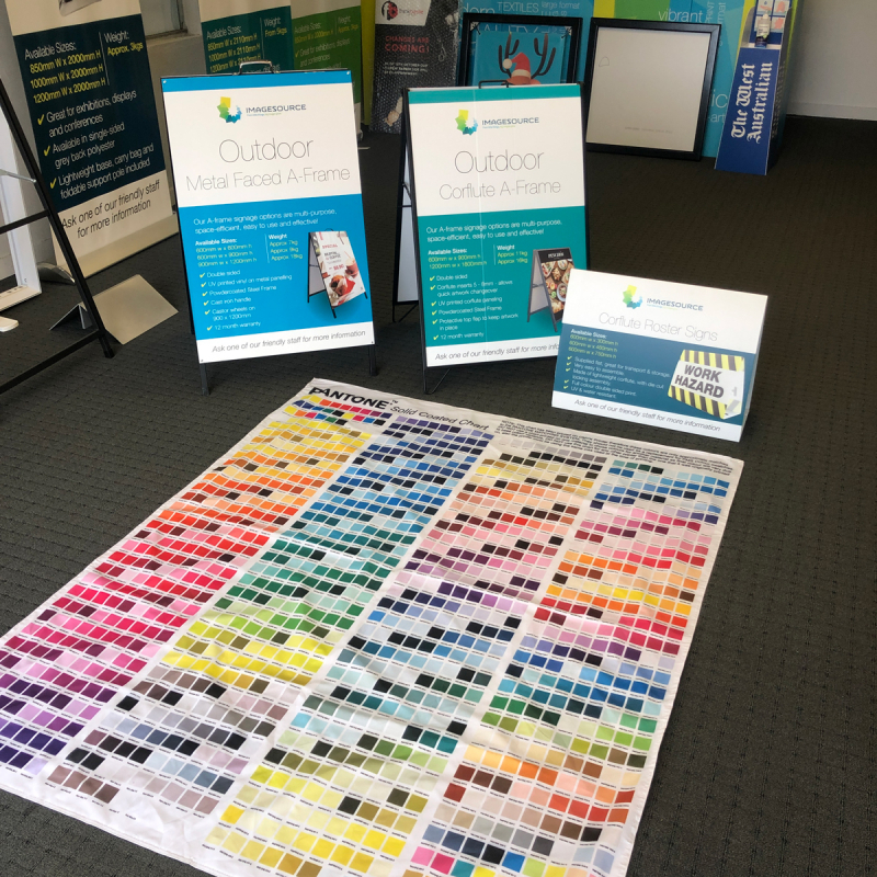 flag printing perth - Imagesource fabric swatch for checking your PMS colours prior to printing
